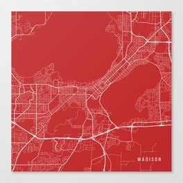 Madison Map, USA - Red Canvas Print