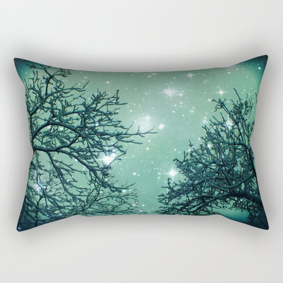 Aqua Skies N Stars Through The Trees Rectangular Pillow