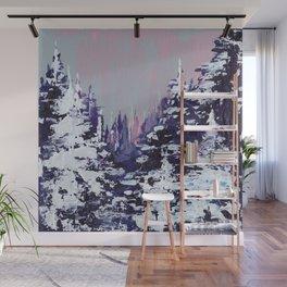 Snowy Evergreens Wall Mural