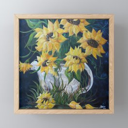Sunflowers in a Country Pot Framed Mini Art Print