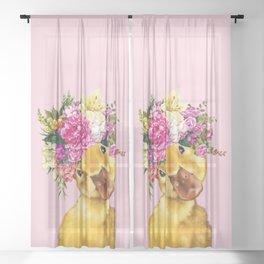 Flower Crown Baby Duck in Pink Sheer Curtain