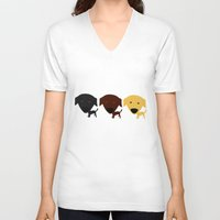 labrador V-neck T-shirts featuring Labrador Retriever dog by Verene Krydsby
