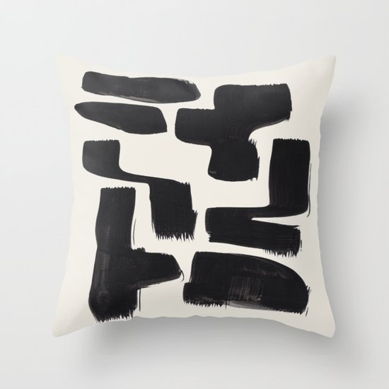 Mid Century Modern Minimalist Abstract Art Brush Strokes Black & White Ink Art Shapes by enshape