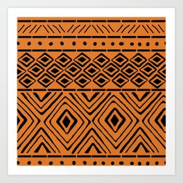 African Mud Cloth // Orange Kunstdrucke