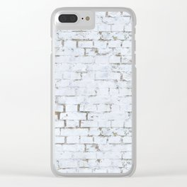 Vintage White Brick Wall Clear iPhone Case