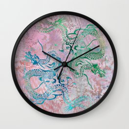 Peony Dragons Chinoiserie Chic Antique Stencil Art - Petal Pink Wall Clock