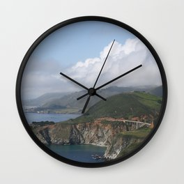 Clouds over Bixby Creek Bridge in Big Sur, California Wall Clock