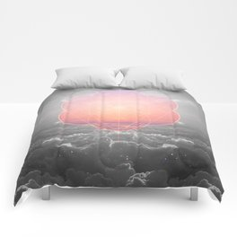 The Sun Is But A Morning Star (Mono Geometric Sunrise) Comforters