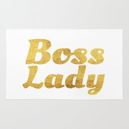 Boss Lady in Cursive Gold Rug