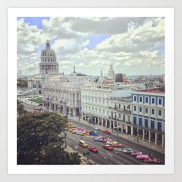 Overview of Havana main street and Capitolio Art Print