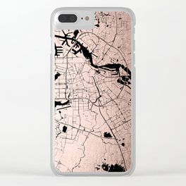Amsterdam Rosegold on Black Street Map Clear iPhone Case