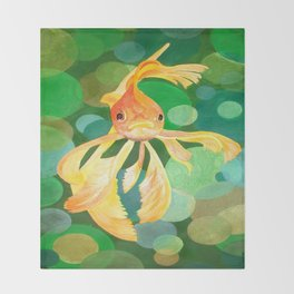Vermilion Goldfish Swimming In Green Sea of Bubbles Throw Blanket