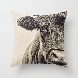 Vintage Highland Cow Throw Pillow