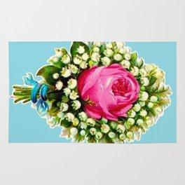 Retro Vintage Floral Bouquet Rose Lilies Rug
