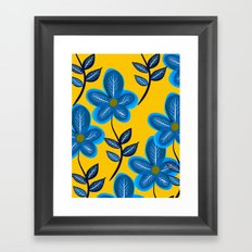 Blue Flowers and Yellow Pattern Framed Art Print