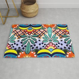 Colorful Talavera, Yellow Accent, Large, Mexican Tile Design Rug