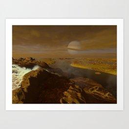 Titan river delta Art Print