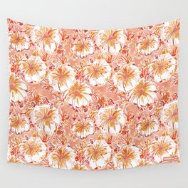 KOMBUCHA-CHA Orange Tropical Hibiscus Floral Wall Tapestry
