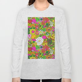 60's Groovy Garden in Lime Green Long Sleeve T-shirt