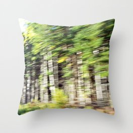 Speed Blurred Birch Throw Pillow