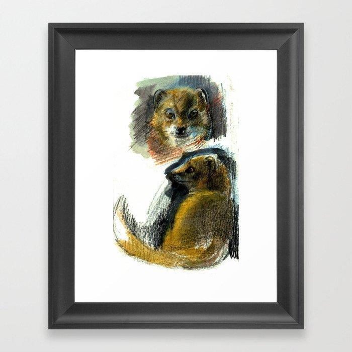 Yellow mongoose realistic (c) 2017 Framed Art Print