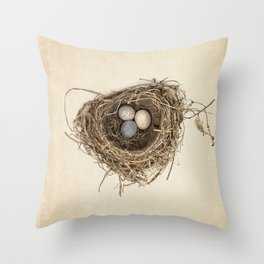Bird Nest with Stone Eggs on Vintage Paper Throw Pillow