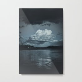 Cloudy Möhne Reservoir Lake dark Metal Print