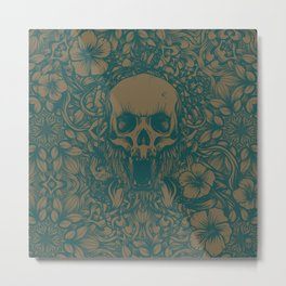 Blue Skull in jungle Metal Print