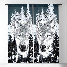 Forest Wolf Art Blackout Curtain