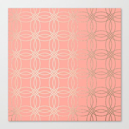 Simply Vintage Link in White Gold Sands and Salmon Pink Canvas Print
