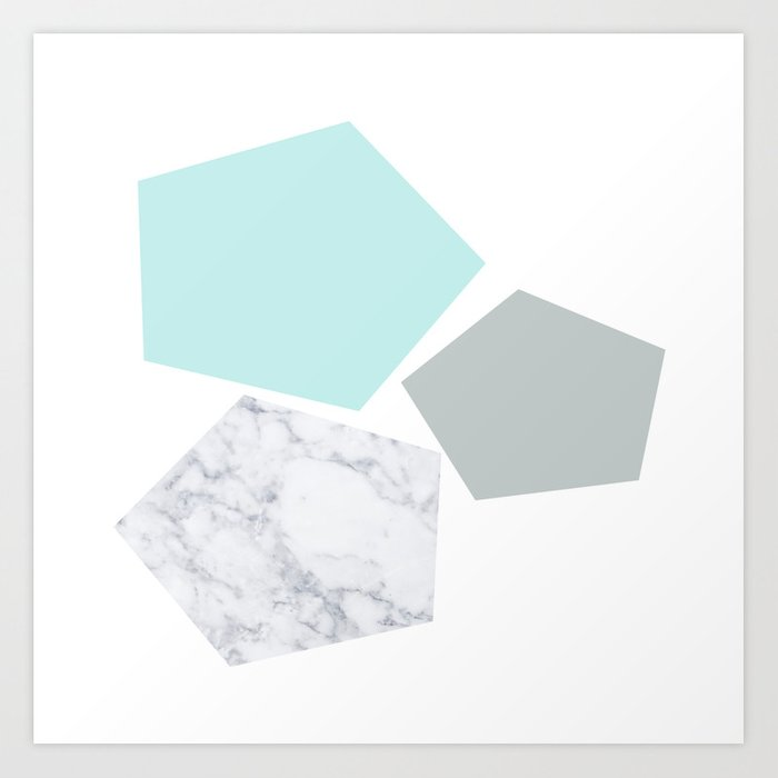 Geo marble and turquoise Art Print