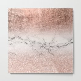 Modern faux rose gold glitter and foil ombre gradient on white marble color block Metal Print