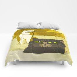 Japanese, Cat, Cubism, Woodblock Print, Cherry Blossom, Midcentury, Modern Comforters