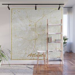 Atlanta Map Gold Wall Mural