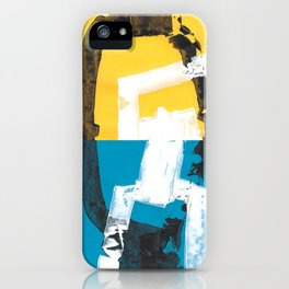 Yellow and blue abstract painting iPhone Case