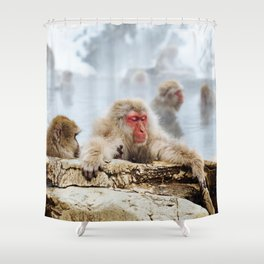 The Japanese macaque also known as the snow monkey Shower Curtain
