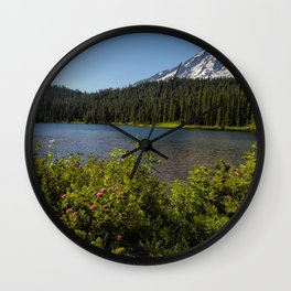 Wildlflower Color by Reflection Lake and Mt Rainier, No. 1 Wall Clock