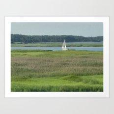 sailboat on the river Art Print