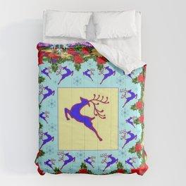 PINK ART LEAPING DEER POINSETTIAS & SNOWFLAKES CHRISTMAS Comforters