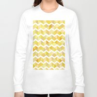 herringbone Long Sleeve T-shirts featuring Gold herringbone by S.am