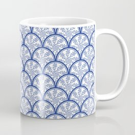 Blue and White Chinoiserie Floral Pattern Stacked Circle Scales Shapes Coffee Mug