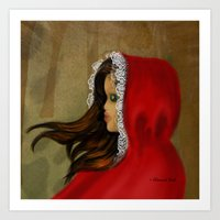 red riding hood Art Prints featuring Red Riding Hood by Alannah Brid
