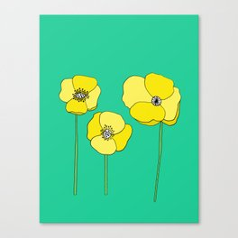 Bright Yellow and Mint Green Poppies Growing and Thriving Canvas Print