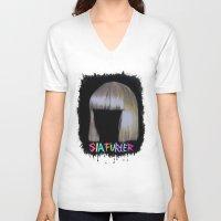 sia V-neck T-shirts featuring SIA by Melina Espinoza