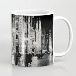 Black and White Duomo Piazza Night Scene, Milan City, Italy Coffee Mug