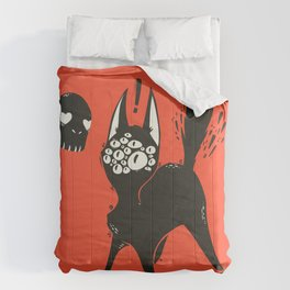 Creepy Cute Many Eyed Cat, Grunge Goth Artwork Comforters