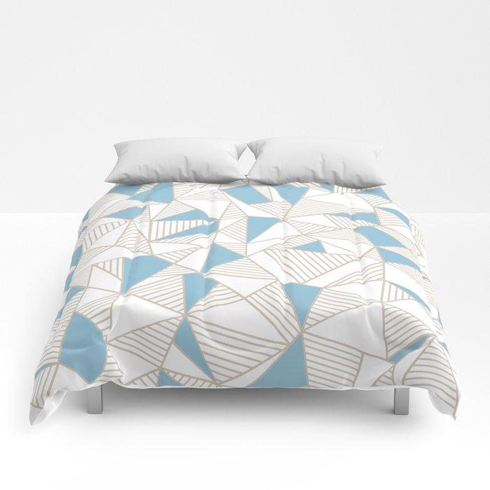 Ab Nude Lines with Blue Blocks Comforters