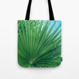 Fan Palm Leaf Against Azur Blue Sky Tote Bag