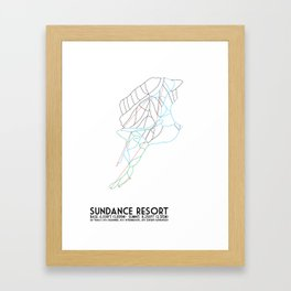 Sundance Mountain Resort, UT - Minimalist Winter Trail Art Framed Art Print