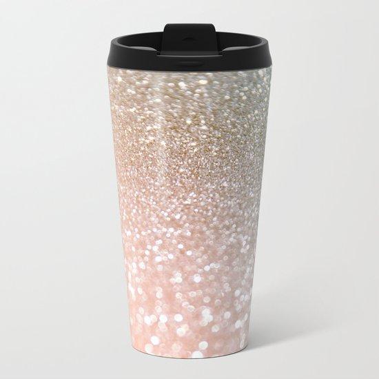 Rosequartz glitter - Pink luxury glitter sparkling design Metal Travel Mug